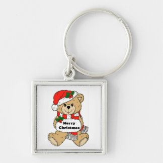 Christmas Teddy Bear Message Keychain