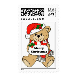 Christmas Teddy Bear Message Postage Stamps