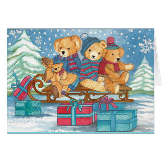 CHRISTMAS TEDDY BEAR ON CARRIAGES WITH GIFTS CARD