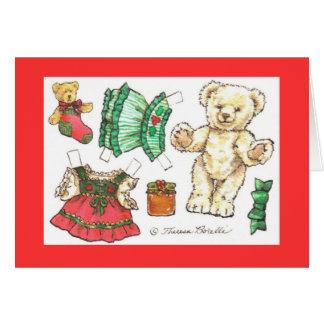 Christmas Teddy Bear paper doll card