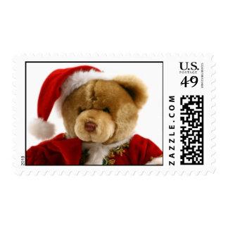 Christmas teddy bear postage stamp