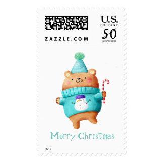 Christmas Teddy Bear Postage