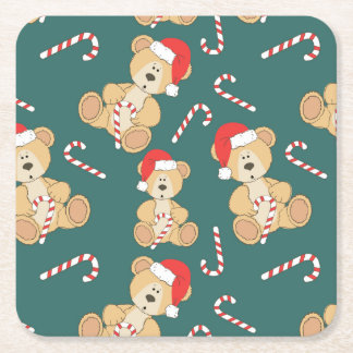 Christmas Teddy Bear Square Paper Coaster