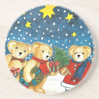 CHRISTMAS TEDDY BEAR WITH GIFTS DRINK COASTER