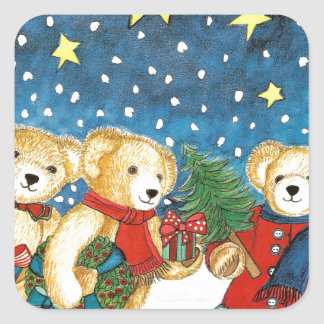 CHRISTMAS TEDDY BEAR WITH GIFTS SQUARE STICKER