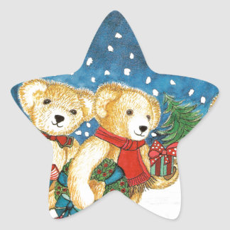 CHRISTMAS TEDDY BEAR WITH GIFTS STAR STICKER