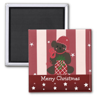 Christmas Teddy Bear with Red Stripes Magnet