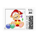 Christmas Teddy Bear with Star Postage Stamps