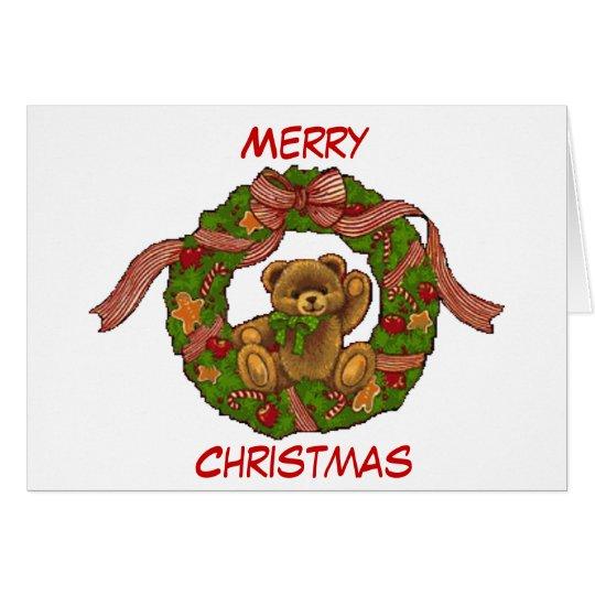 Christmas Teddy Bear Wreath Card