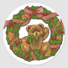 Christmas Teddy Bear Wreath Classic Round Sticker