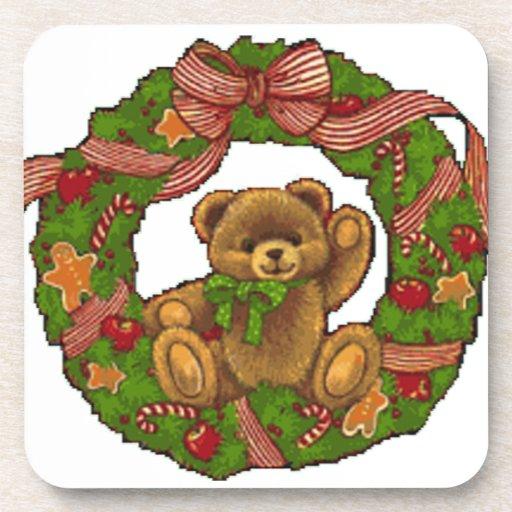 Christmas Teddy Bear Wreath Coaster