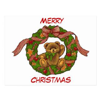 Christmas Teddy Bear Wreath Postcard
