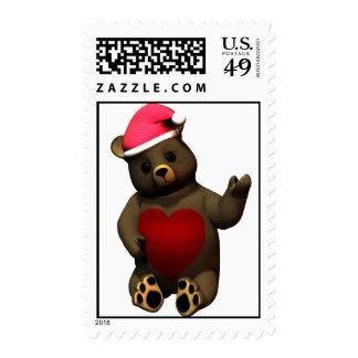 Christmas Teddy loves da belly! Postage Stamp