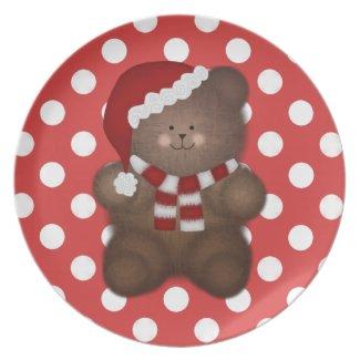 Christmas Teddybear Polka-dot Plate
