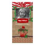 Christmas Template Cute Cupcake Zebra Leopard Customized Photo Card