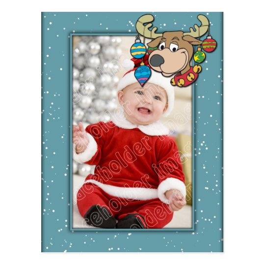 Christmas Template with Reindeer Postcard