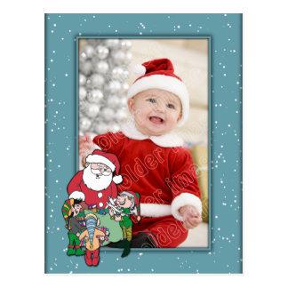 Christmas Template with Santa and Elf Postcard