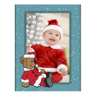 Christmas Template with Santa Bear Postcard