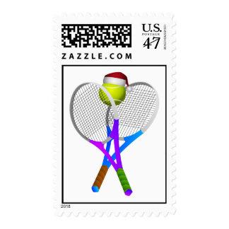 Christmas Tennis Ball and Rackets Postage Stamp