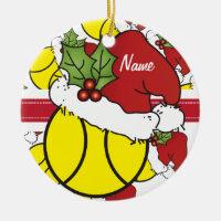 Christmas Tennis Ball   Personalize Ceramic Ornament
