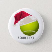 Christmas Tennis Ball Santa Hat Button