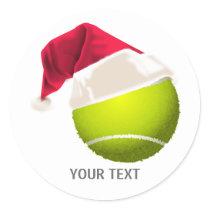 Christmas Tennis Ball Santa Hat Classic Round Sticker