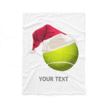 Christmas Tennis Ball Santa Hat Fleece Blanket