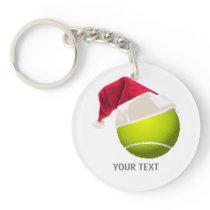 Christmas Tennis Ball Santa Hat Keychain