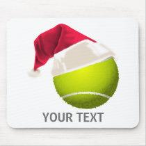 Christmas Tennis Ball Santa Hat Mouse Pad