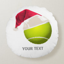 Christmas Tennis Ball Santa Hat Round Pillow