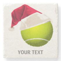 Christmas Tennis Ball Santa Hat Stone Coaster