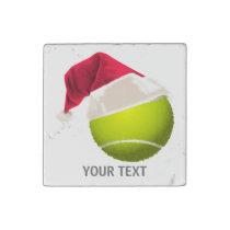 Christmas Tennis Ball Santa Hat Stone Magnet