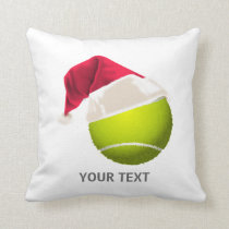 Christmas Tennis Ball Santa Hat Throw Pillow