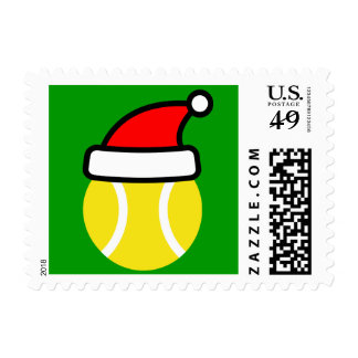 Christmas tennis ball stamps with Santa Claus hat