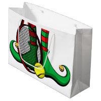 Christmas Tennis Elf Feet Large Gift Bag