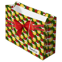 Christmas Tennis Pattern - Large Large Gift Bag