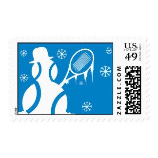 Christmas tennis snowman postage stamp