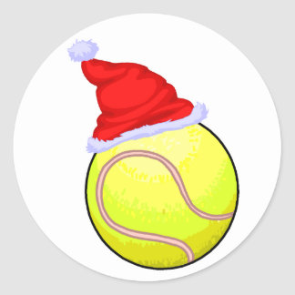 Christmas Tennis Classic Round Sticker
