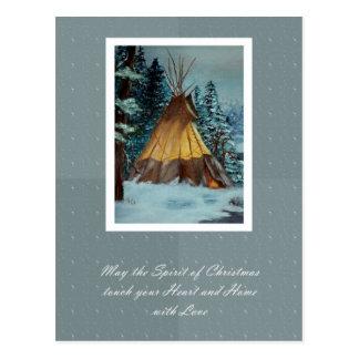 Christmas Tepee Postcard / Christmas Tipi Postcard