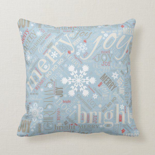 Christmas Text and Snowflake Pattern Blue ID257 Throw Pillow