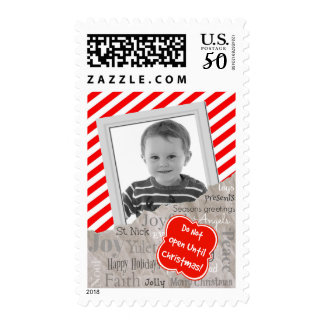 Christmas Text on Holiday Gift Paper Photo Postage