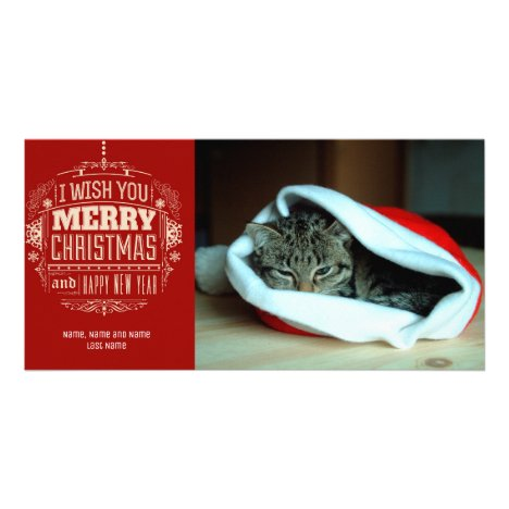 Christmas Text, Ornament Shaped Photo Card