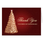 Christmas Thank You Bridesmaid Gold Red Card