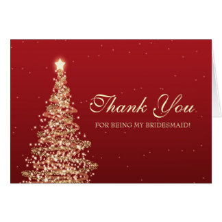 Christmas Thank You Bridesmaid Red Gold Card
