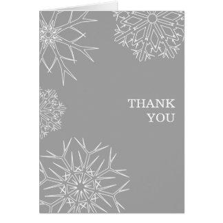 Christmas Thank You Card - Snowflakes Gray/Silver