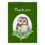 Christmas Thank you Cute Owl Bird Holly Greeting Cards
