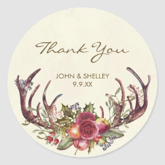Christmas thank you sticker winter holly wedding