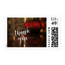 Christmas Thank You Type & Red Ornaments Photo Postage