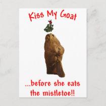 Christmas Theme Kiss My Goat Holiday Postcard