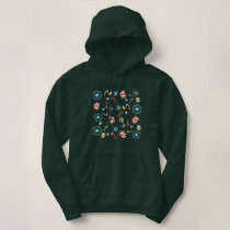 Christmas Theme Owls Candy Canes and Snowflakes Hoodie